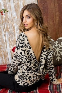 Taupe & black leopard print open back sweater
