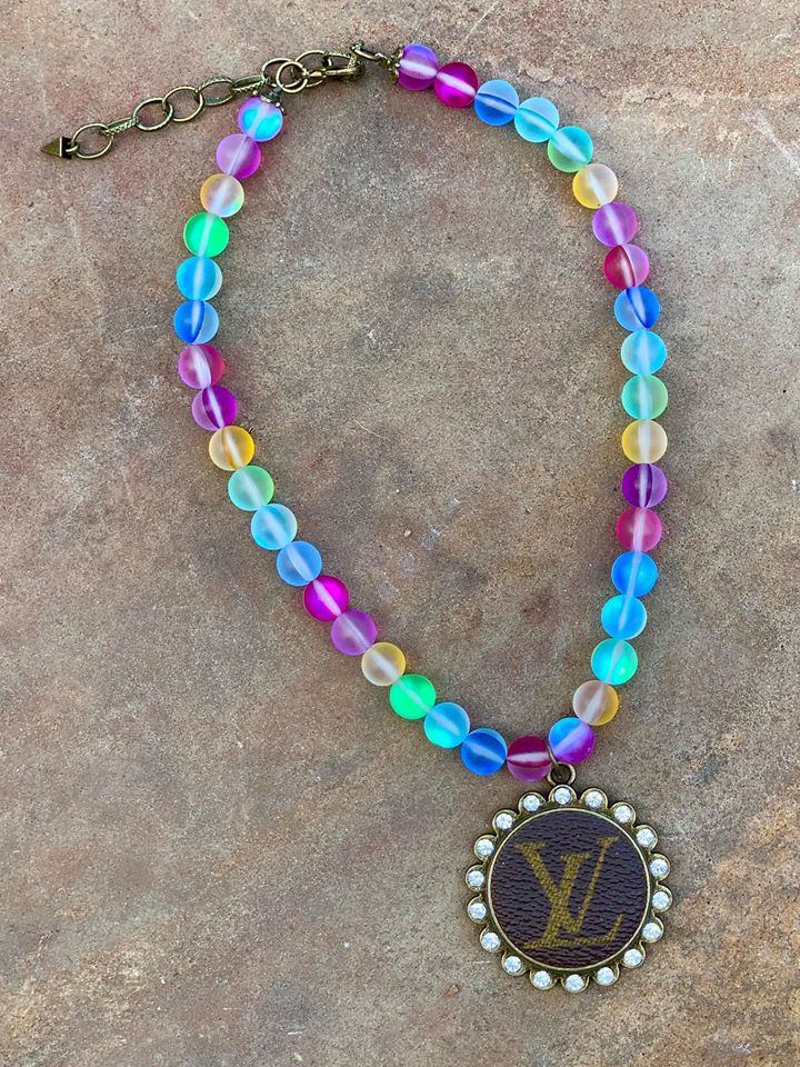 Rainbow Moonstone Upcycled Crystal Necklace