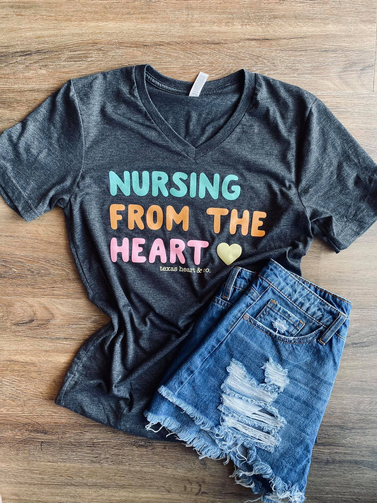 Nursing From The Heart Charcoal Heather V-neck Tee