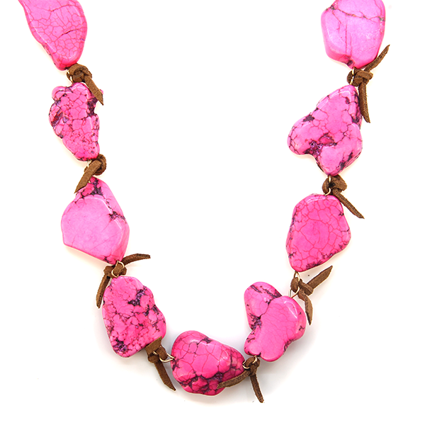Fuschia stone leather necklace