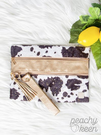 Black & White Shimmery Cow with Gold Double Zipper Versi Bag
