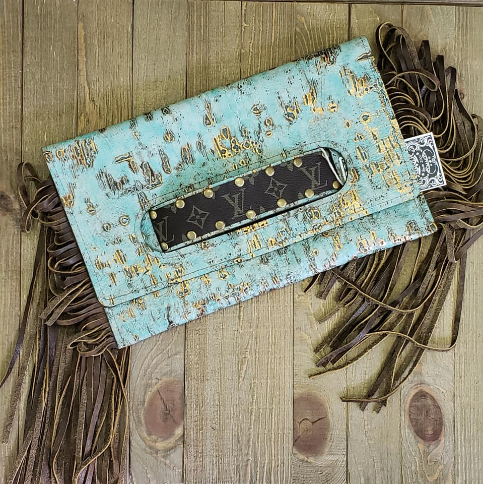 SALE! Katherine turquoise & gold leather fringe clutch