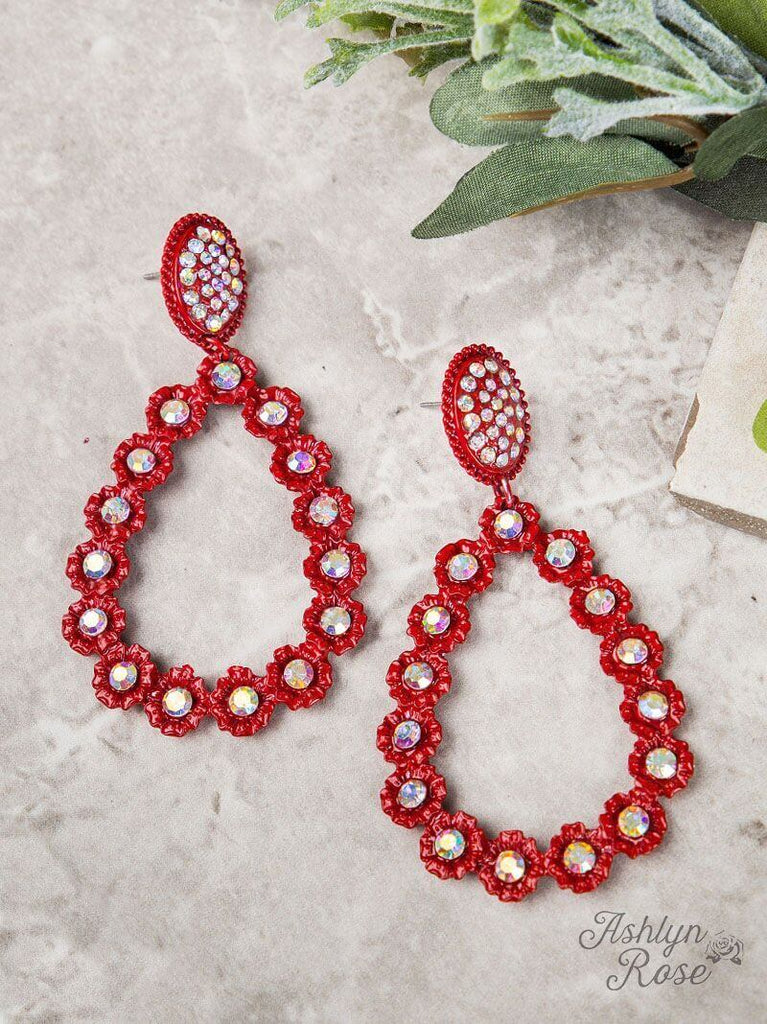 Red AB Crystal Flower Teardrop Earrings