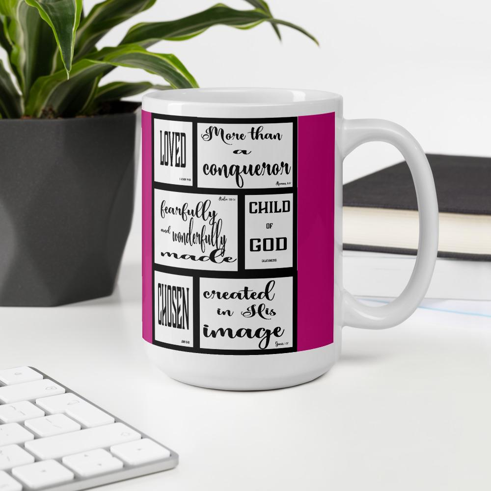 Spiritual Identity  Mug with pink background