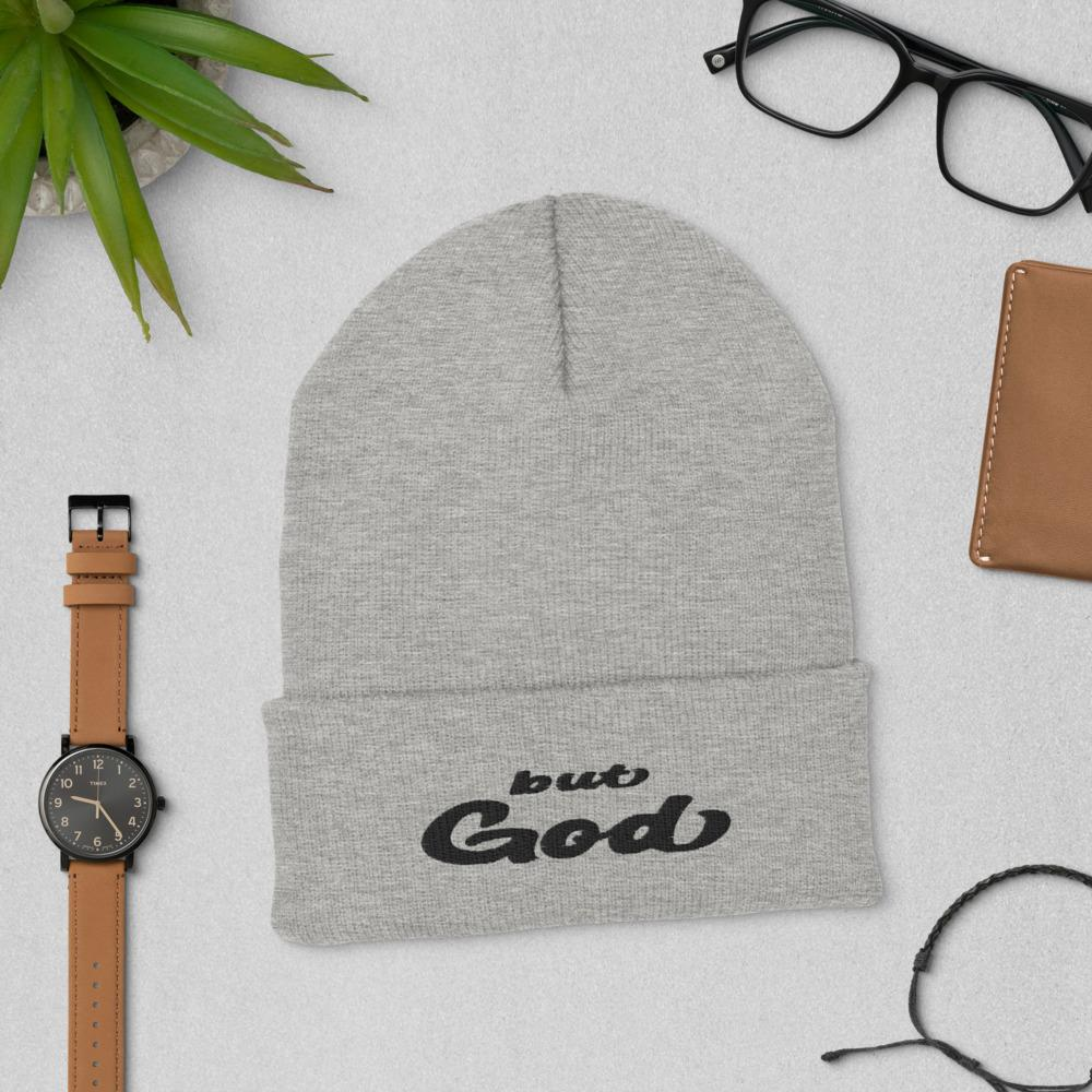But God Embroidered Cuffed Beanie grey