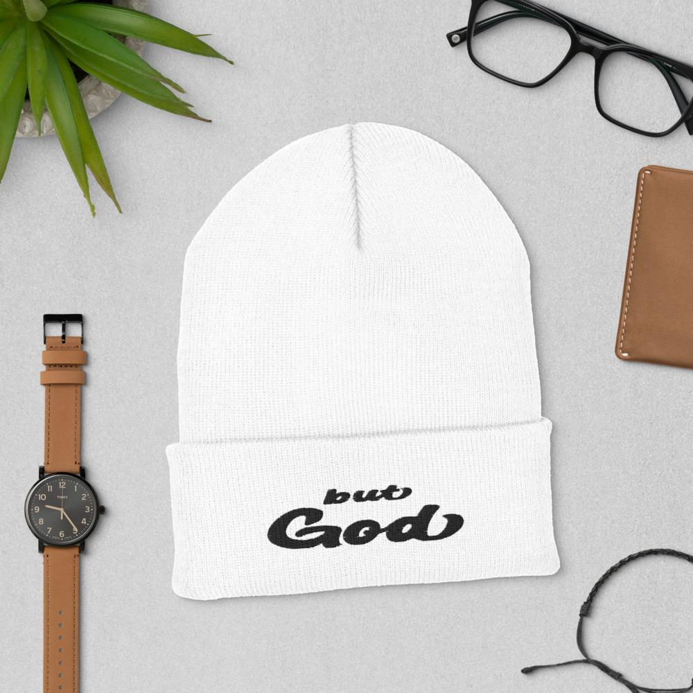 But God Embroidered Cuffed Beanie white