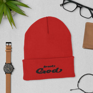 But God Embroidered Cuffed Beanie red
