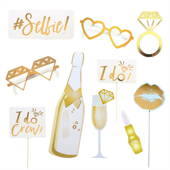 Bachelorette Party Photobooth Props (Gold) - Party Supplies in Canada