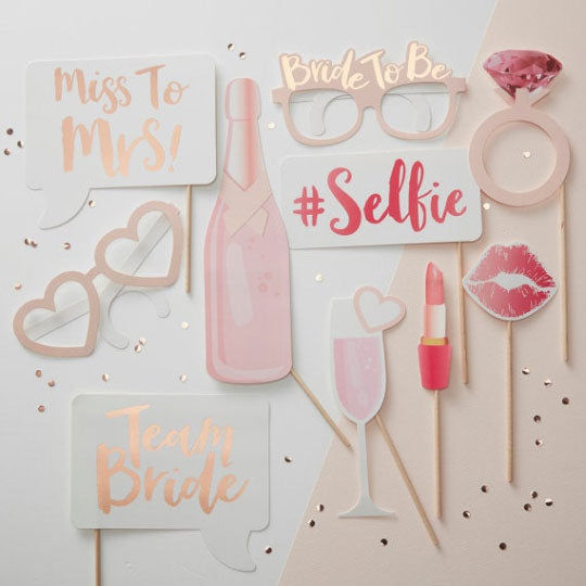 Bachelorette Party Photobooth Props (Rose Gold) - Party Supplies in Canada