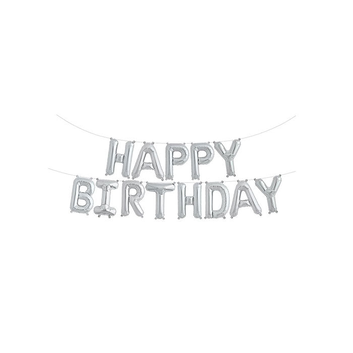 Silver Happy Birthday Balloon Banner - Party Supplies in Canada