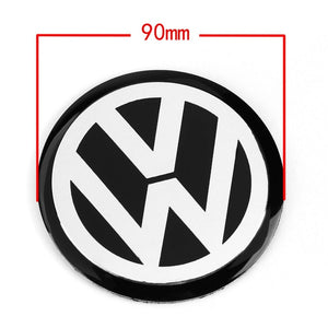 Black Car Wheel Center Hub Cap Badge Logo Emblem Decal Wheel Sticker Styling For VW