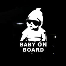 BABY ON BOARD Cool Rear Reflective Sunglasses Child Car Stickers Warning Decals Black/Silver