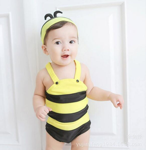 Cute yellow bee kids baby Girls boys beach wear swimsuit