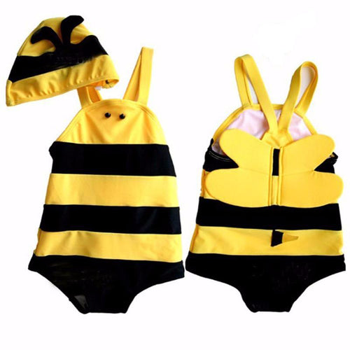 2017 New Swimming Suit For Kids Girls Boys One Piece Bathing Suit Bee Angel Swim Suits