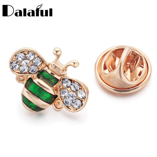 Dalaful Cute Crystal Bee Brooches Pin Enamel Women's Jewelry Animal Collar Suit Clothing Decoration Accessories Z033_1