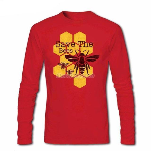 Men's Long Sleeve Print Graphic Custom Big Size Primer Tshirt Street Honeycomb Save The Bees T Shirts Men Hot Sale