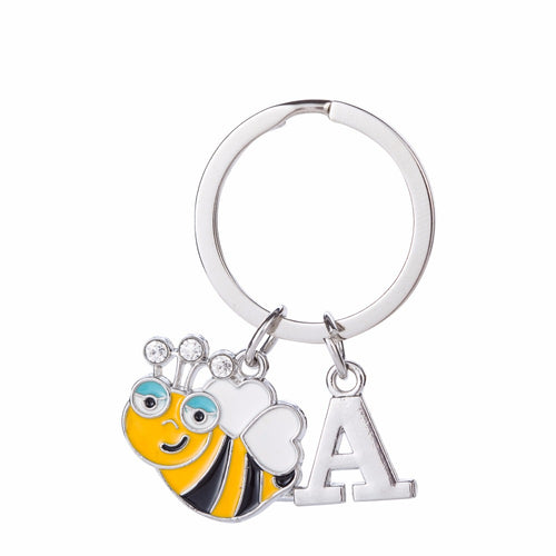 Skyrim Enamel Cute Crystal Bee Animal Charm With Letter Key Ring Letter Pendants 26 alphabet Initial Keychain Customized Gifts