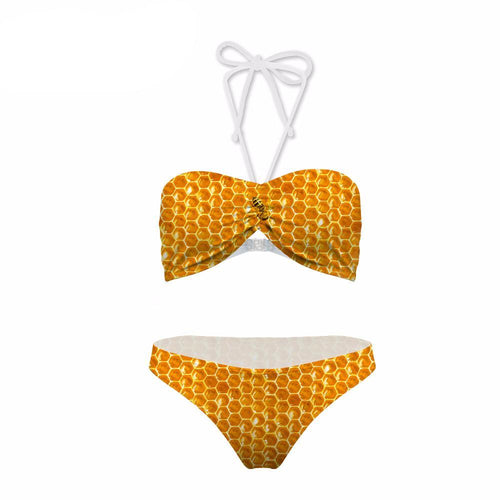 Teenager Beach Party Bikini Sets 3D Bee Printing Design Womens Candy Color Cloud Cute Push Up Biquini Sets Bathing Suit Beach