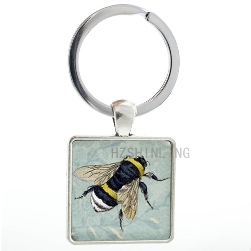 Honey Bee keychain Bumblebee Blue Floral pattern art insects key chain ring holder men women fashion keyring jewelry gifts AA89
