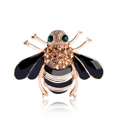 Fashion Jewelry Insects Bee Black Enamel Champagne Crystal Brooches Bouquet Gold-color Animal Brooch Pins Clips Free Shipping
