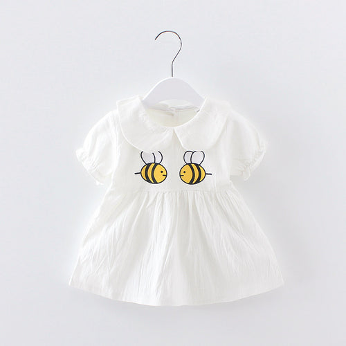 Dressnomore Baby Girls Clothes 2017 Summer Dress Children Cartoon Small Bee Pattern Short Sleeve Turn-down Collar Kids 12m-3Y