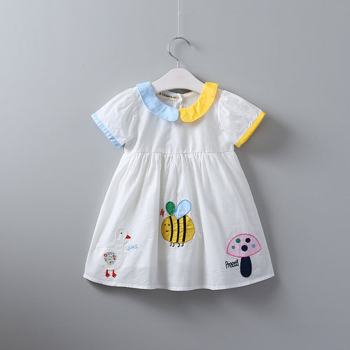 Baby Turn-down Clothes Bee Duck Girls Embroidery Short Sleeve Dress Children Summer Wholesale Animal Mushroom Clothing 6pcs/LOT