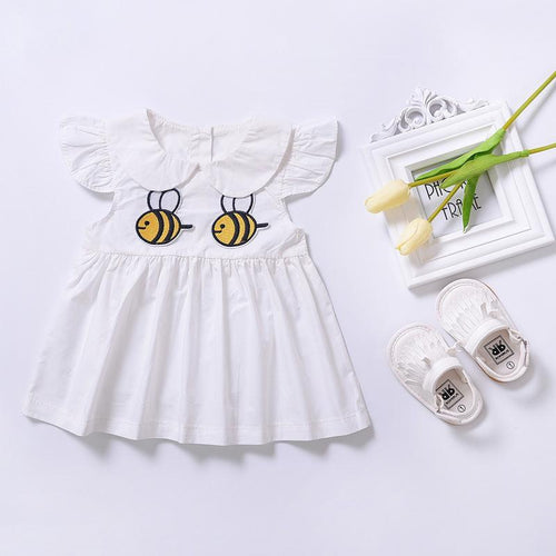 Summer dress for girl Baby girls casual dress Cartoon bee pattern toddler dress infant Girls clothes costume for kids R2-16H