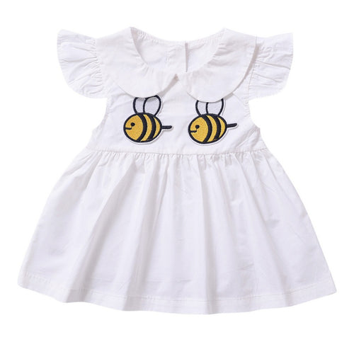 2017 Baby Girls Clothes New Summer Girls Doll Collar Bee Dress Children Cotton Embroidered Princess Dresses