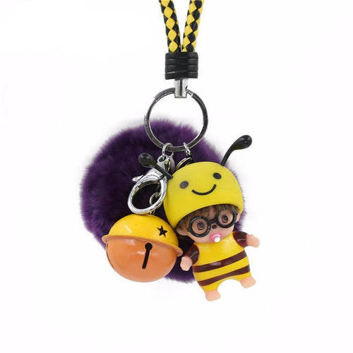 Skeins jewelry fur Pompom lovely Bell Monchhichi kiki Bee Keychain Deformed Anime Rabbit fluffy keychain Women Bag Accessories