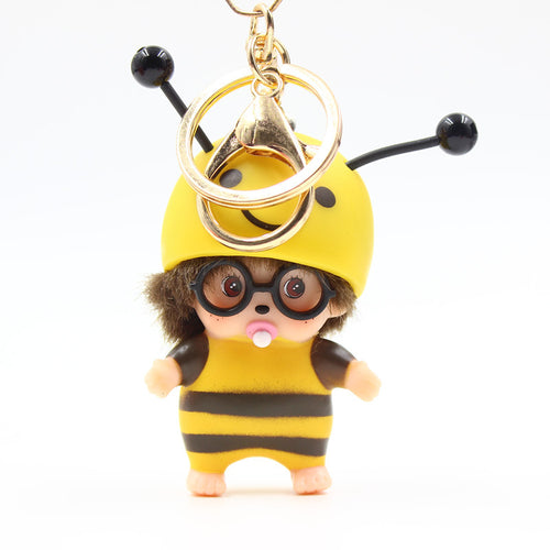 Linnor Cartoon Bee Monchichi Keychain Red Yellow Monchhichi Elves KIKI Keyring Bag Pendant Toy for Children Chaveiro Llavero