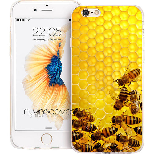 Coque Fundas Bee Bees Transparent Clear Soft TPU Phone Cases for iphone 7 7Plus Case for iPhone 5S 5 SE 6 6S Plus 4S Capa Cover.