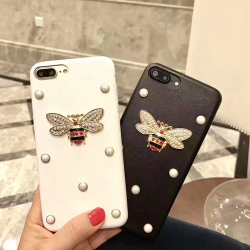 3D DIY Gold Bee Pearl Silicone Soft phone case For iphone 7 case iPhone 7 7 Plus 6 6S Plus Case Series Luxury Retro Case Cover
