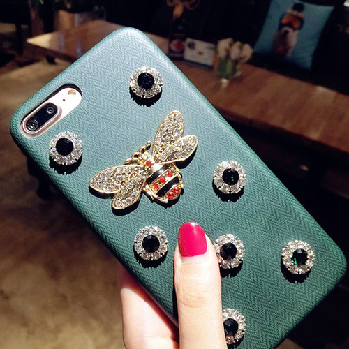LANCASE For iPhone 6 Case Green Crystal Bling Diamond Metal Bee Case For iPhone 6 6S 4.7inch Girls Phone Cases For iPhone 6S