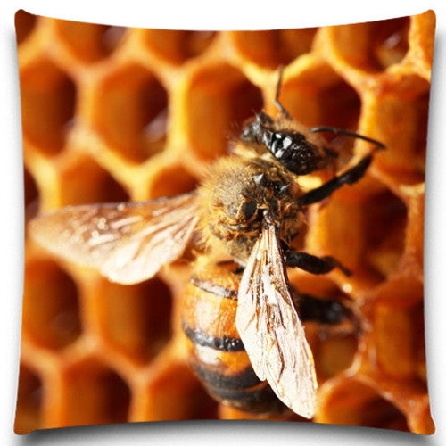 5 size 9 style Bees produce honey Square Pillow Case Bedding Room Sofa Chair Home Hotel Decorative Cushion Cover