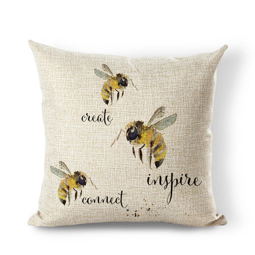 45x45cm Color Cute Bee Cushion Home Decor Printed Animal Pillow Sofa Car Almofada Fiber Cotton Canvas Square Removable Cushion