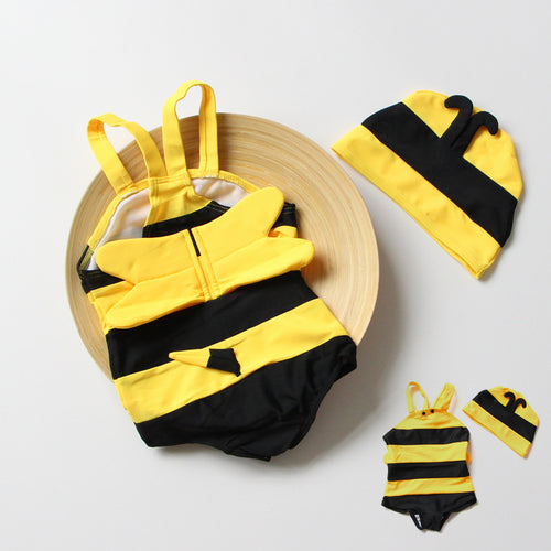 Children Baby Girl Boy Kids  Cute Little Bee Yellow Hot Spring Vacation Swimsuit Swimmig Wear Beach Bathing Suits 1-12 Years Old