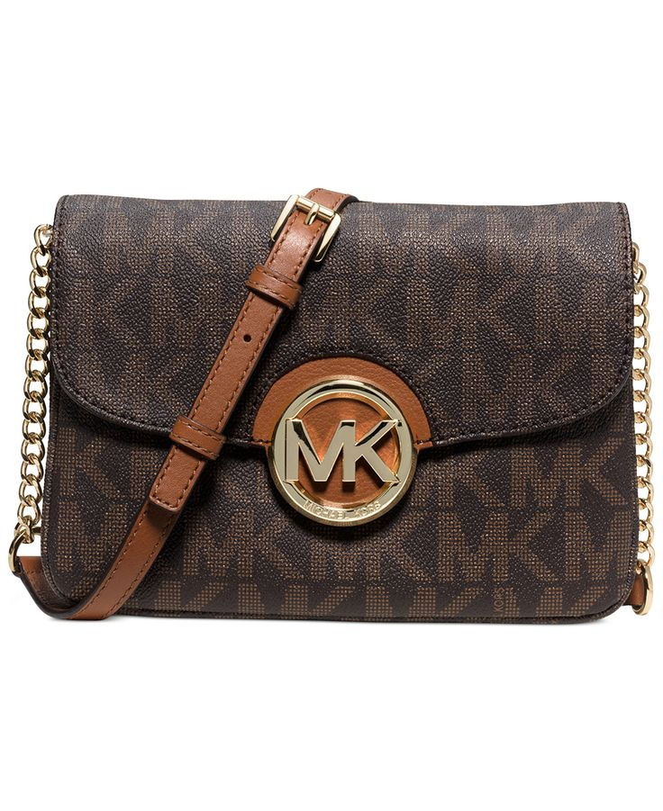 b9cdf6fb4093 Michae Kors Fulton MK Logo Guesset Crossbody Flap Messenger Bag ...