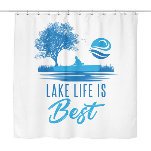 SHOWER CURTAIN - Lake Life Is Best