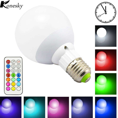 10W 800LM E27 RGB LED Light Bulb for Home 12 Colors Cool/Warm White Dimmable Lamp with Remote Control Timing Function DC 85-265V