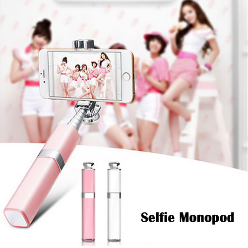Mini Portable Monopod Extendable Selfie Stick For Iphone Samsung Android Fashion Wired Lipstick Palo Self Sticks Groove Camera