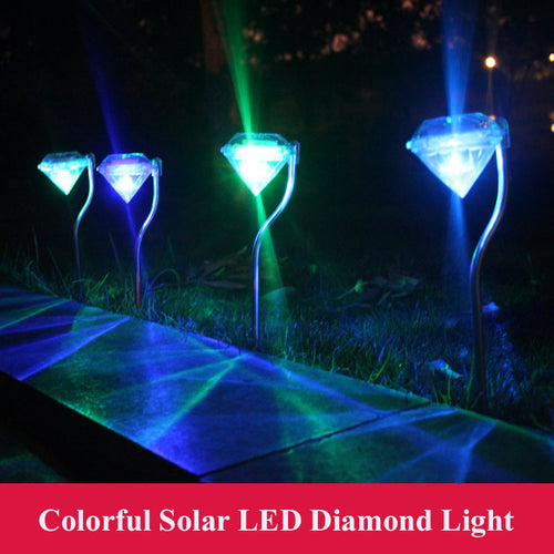 4 pcs/lot Colorful Solar LED Lamp Diamond Waterproof Outdoor Lawn Lamps Stainless Steel Street Night Light For Garden Landscape