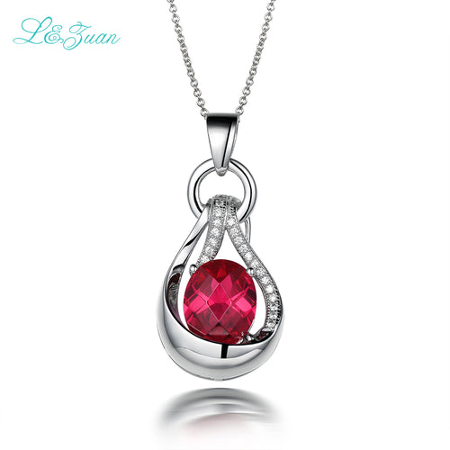 l&zuan 925 silver Ruby pendants necklaces for women Trendy Water Drop 5.26ct red natural Gemstones luxury Fine jewelry