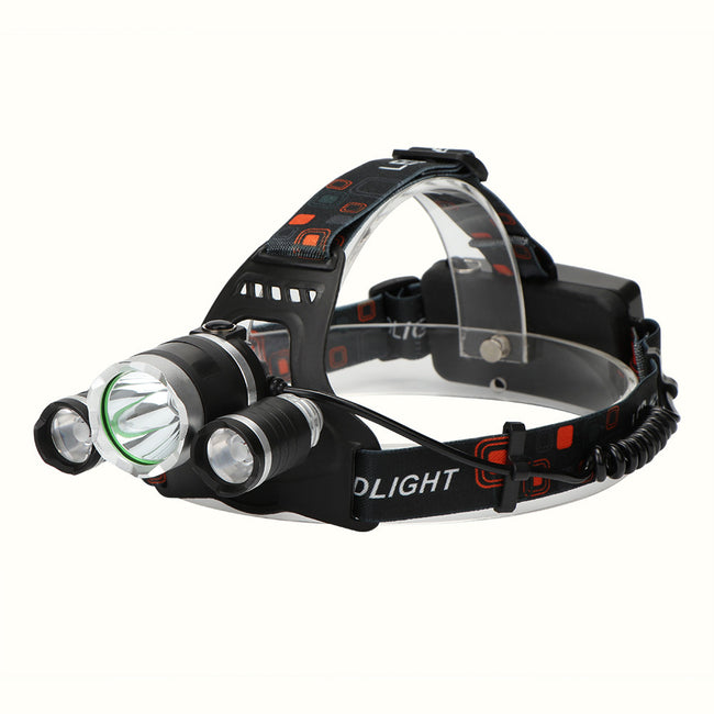 1pc XML T6 + 2pcs XPE T6 LED Headlight Torch Flashlight Rechargeable 4 Light Modes for Outdoor Sports Bike Bycicle Camping Biking Hunting Fishing(流明:虚标5000,实际2500)