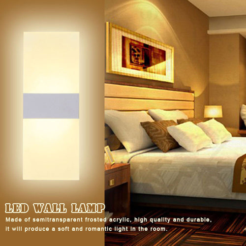 Modern Acrylic 6W LED Wall Lamp Bedside Light Home Indoor Lighting Decoration Warm White AC 85-265V Right Corner