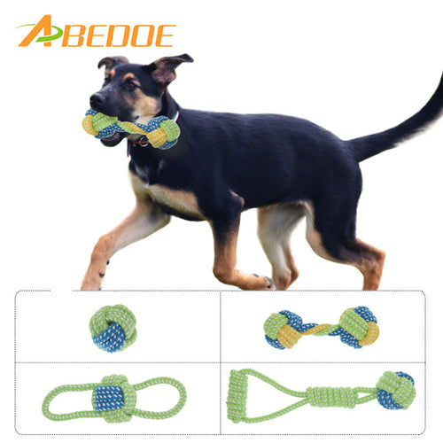 ABEDOE Cotton Dog Rope Toy Knot Puppy Chew Teething Toys Teeth Cleaning Pet Palying Ball For Small Medium Large Dogs