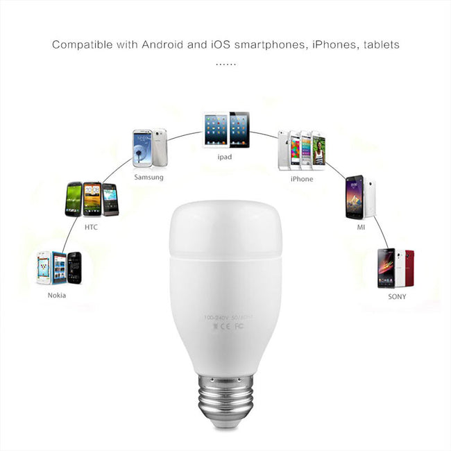 WiFi Smart Bulb 6W E27 RGBW LED Light Support Remote Control / Music Rhythm / Adjust Color Brightness for Android iOS Smartphone