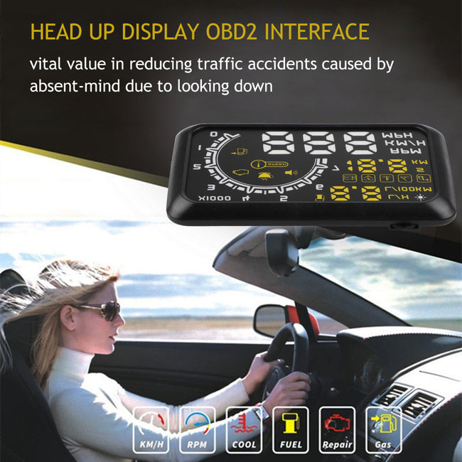 "Onever 4C 2014 Head Up Display Film 5.5"" HUD Head-Up Display Windshield Projector OBD2 Cable Car HUD Speeding Warning Fuel Consu"