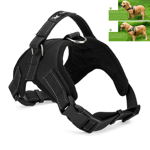 LemonBest Large Dog Harness Padded Chest Strap Heavy Duty with Handle Comfortable for Labrador Golden Retriever Samoyed Husky