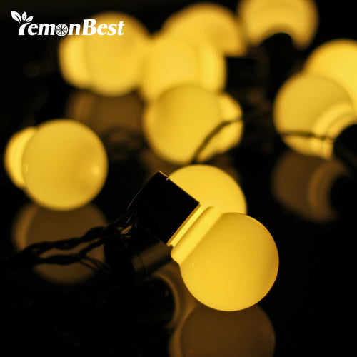5m 20-LED String Lights Waterproof 8cm Globe Ball Garden Fairy Lamp for Christmas Decoration Outdoor Indoor Wedding Party Home