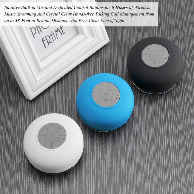 Wireless Bluetooth Speakers Hands Free Water Resistant Bluetooth Shower Speaker Portable Mini Cute Speaker with Mic for Phone